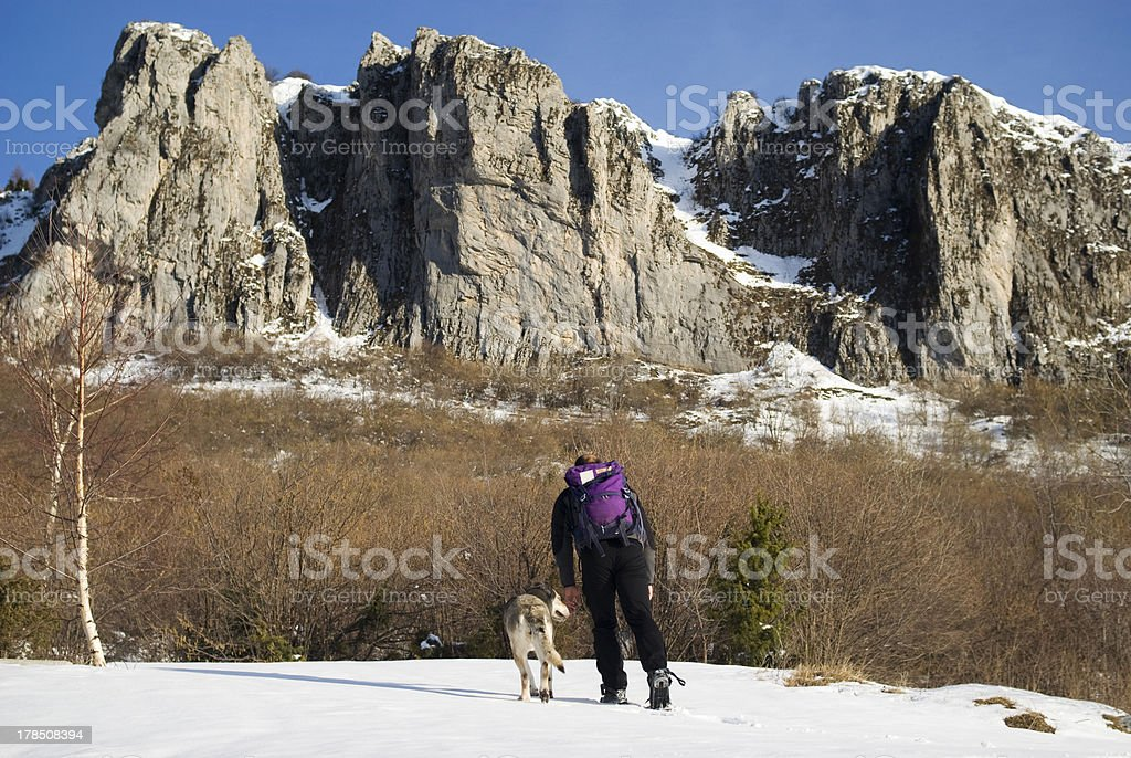 Winter hike royalty-free stock photo