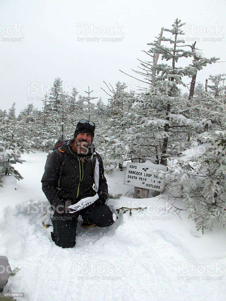 Winter Hiker Near the North Hancock Summit stock photo