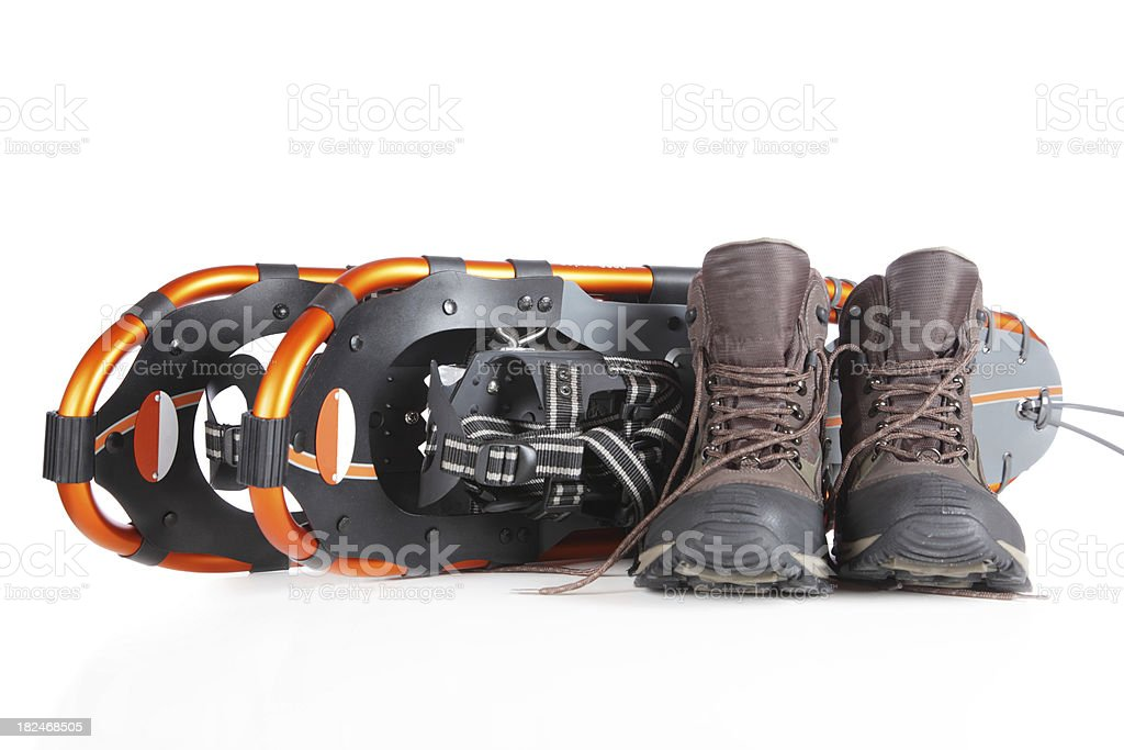 Winter Hiking Boots and Snow Shoes royalty-free stock photo