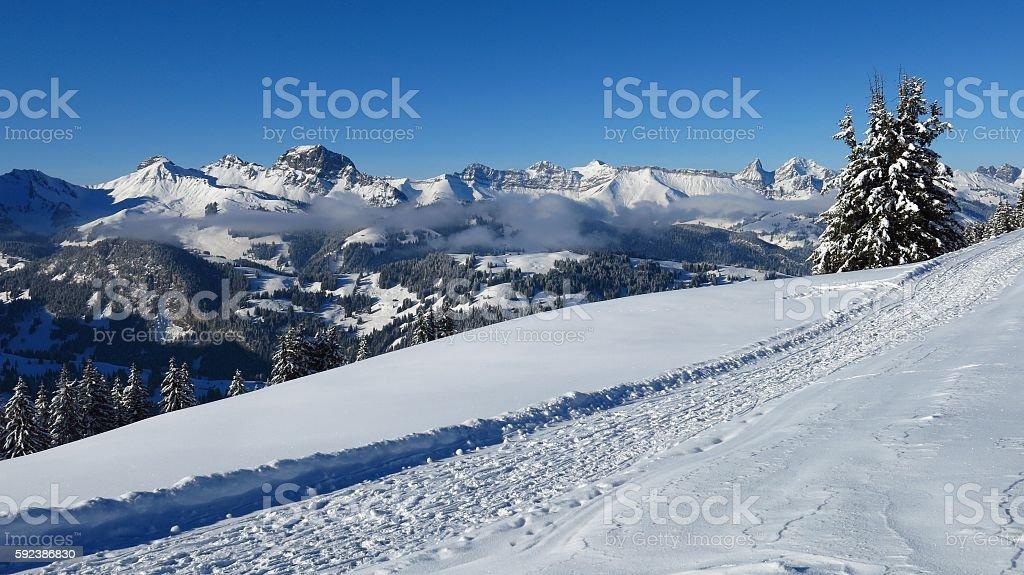 Winter hiking path on Mt Wispile stock photo