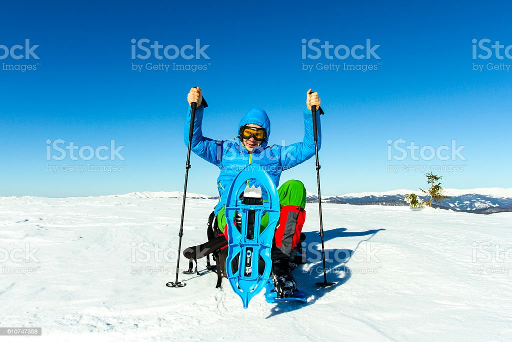 Winter hiking. stock photo
