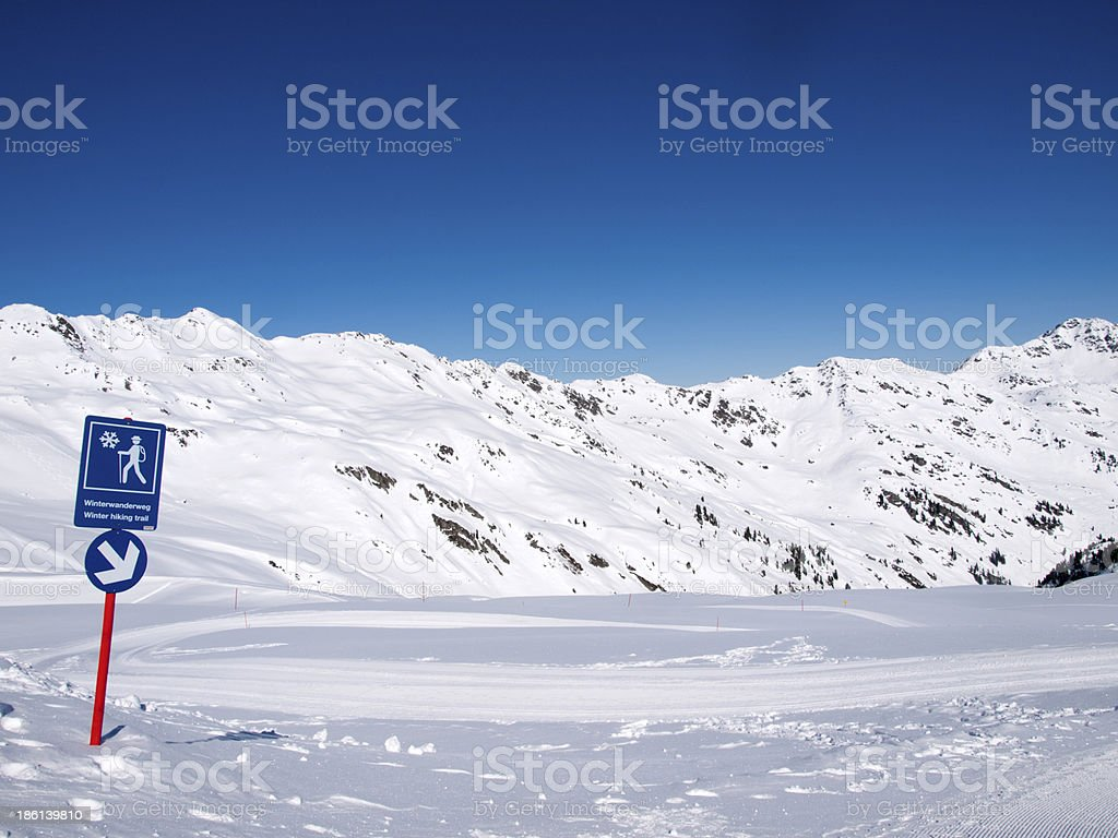 Winter hiking trail in the alps royalty-free stock photo