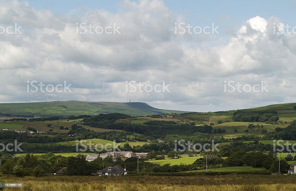 Winter Hill and Smithills Moor panorama stock photo