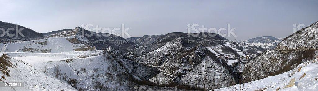 Winter Hills Panorama stock photo