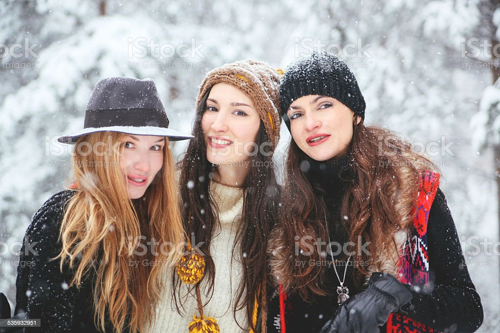 winter hipster fashion portrait stock photo