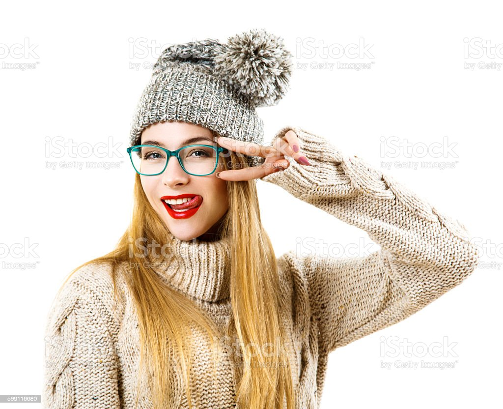 Winter Hipster Girl Going Crazy. Isolated on White stock photo