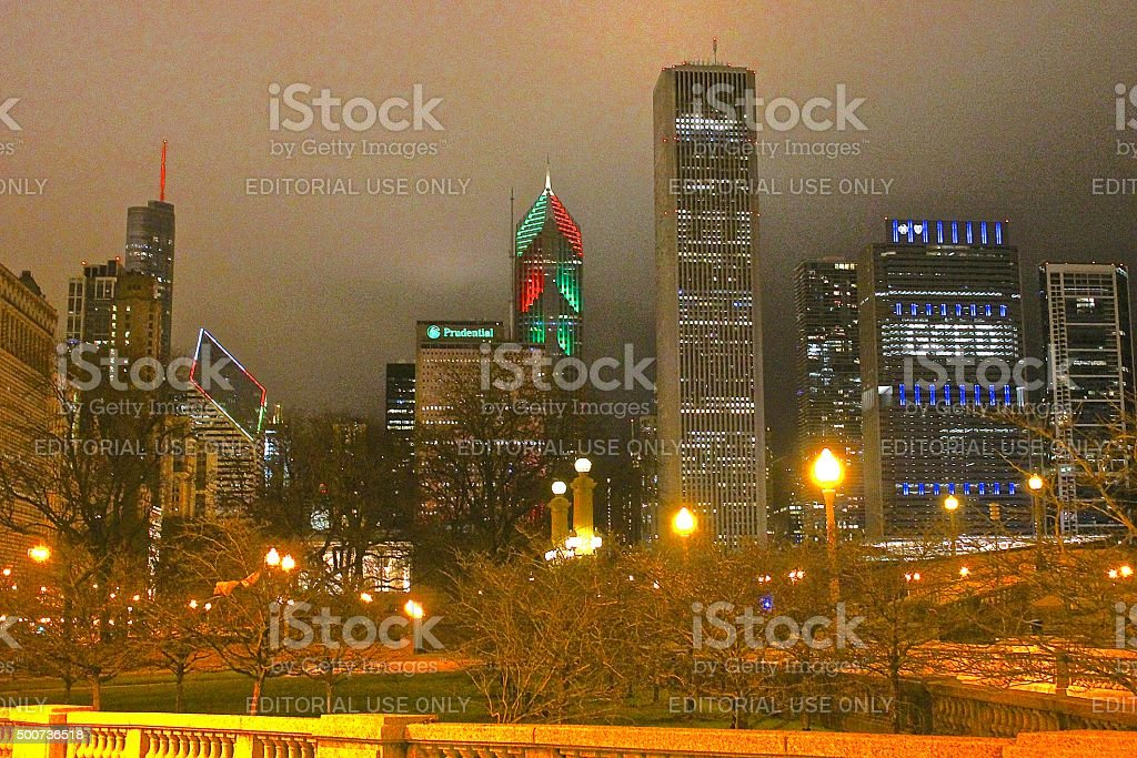 Winter Holiday Season Christmas lighting of buildings in downtown Chicago stock photo
