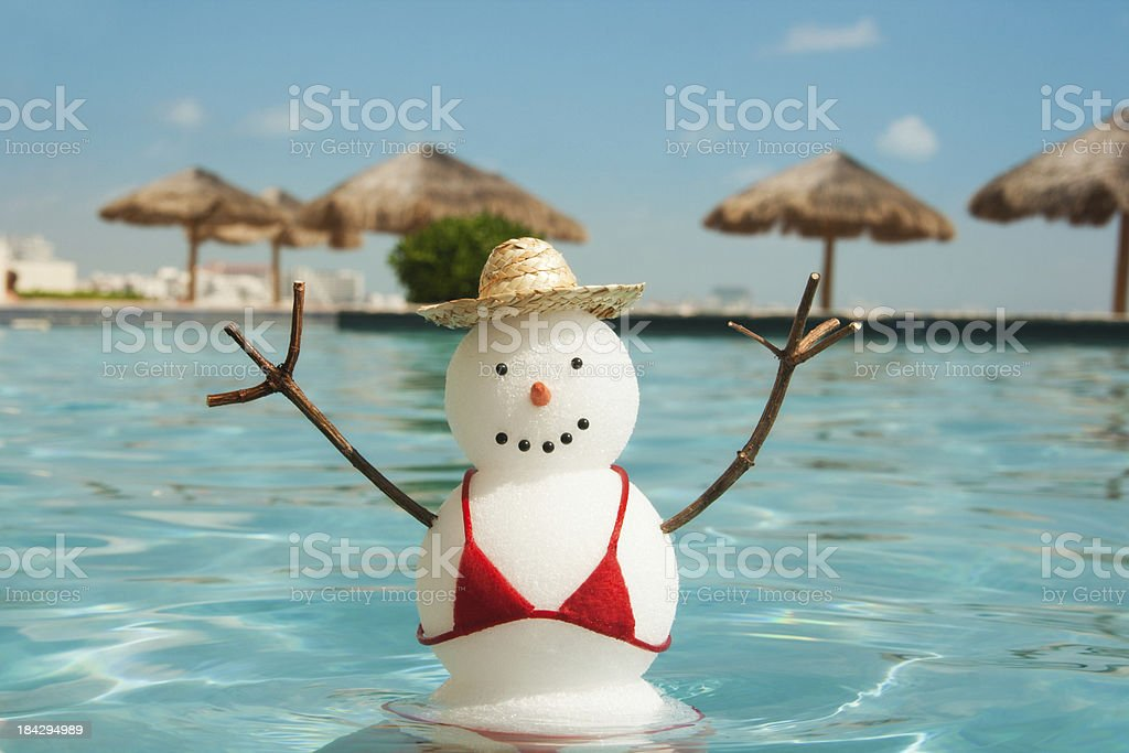 Winter Holiday Vacation in Tropical Hotel Swimming Pool Hz royalty-free stock photo