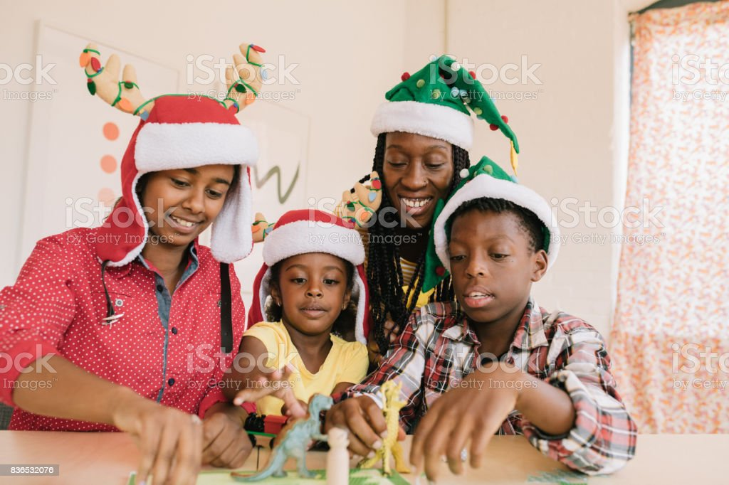 Winter holidays and activities for kids stock photo