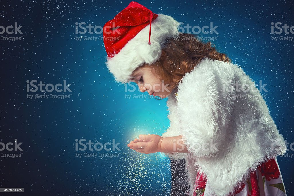 winter, holidays, christmas concept - beautiful little girl havi stock photo
