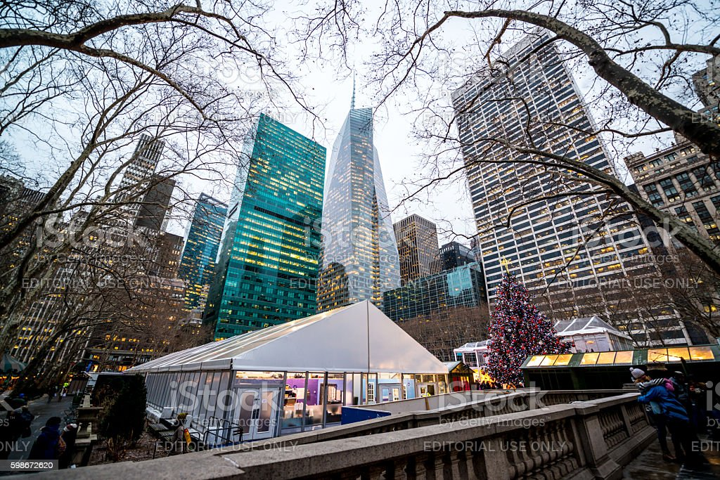 Winter holidays decorations in Bryant Park, New York, USA stock photo