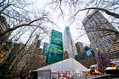Winter holidays decorations in Bryant Park, New York, USA