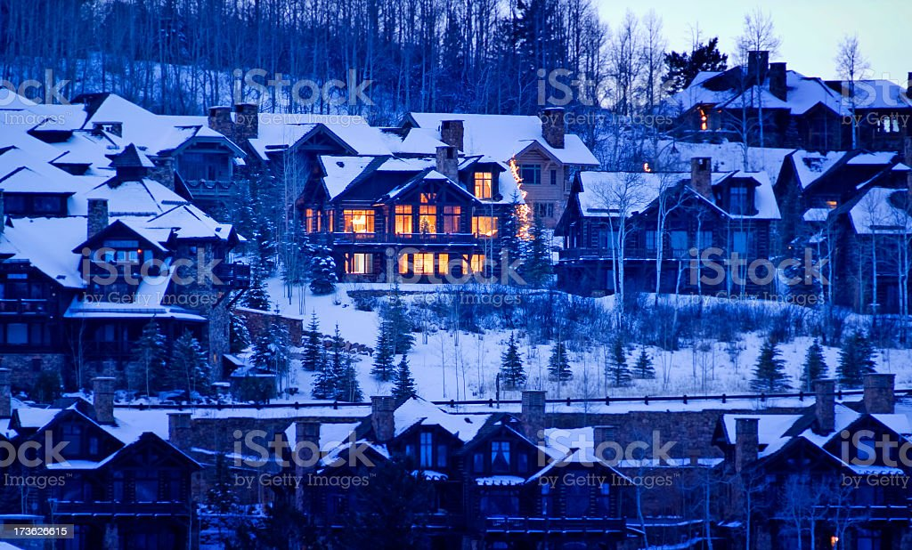 Winter Home at Night stock photo