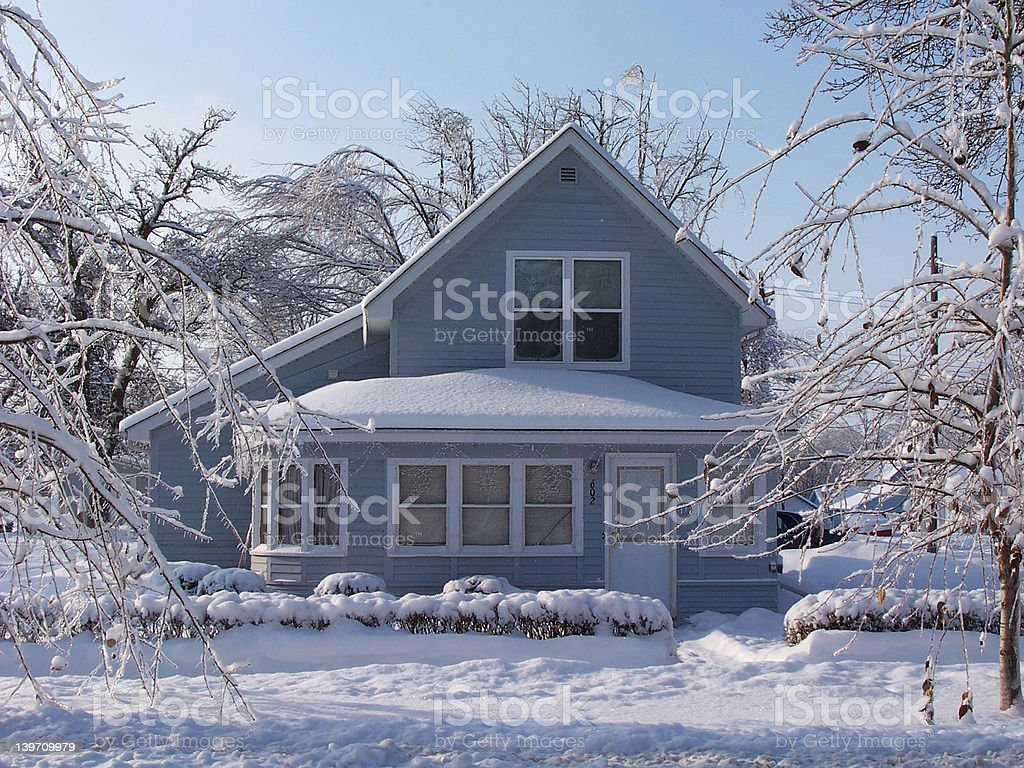Winter Home Front Door stock photo