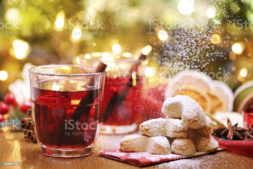 Winter hot drink and christmas cookies royalty-free stock photo