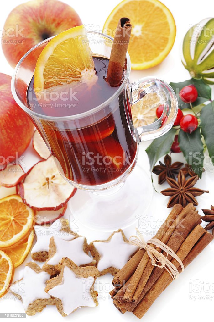 Winter hot drink on white royalty-free stock photo