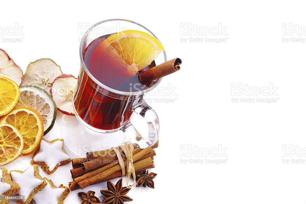 Winter hot drink on white with copy space royalty-free stock photo
