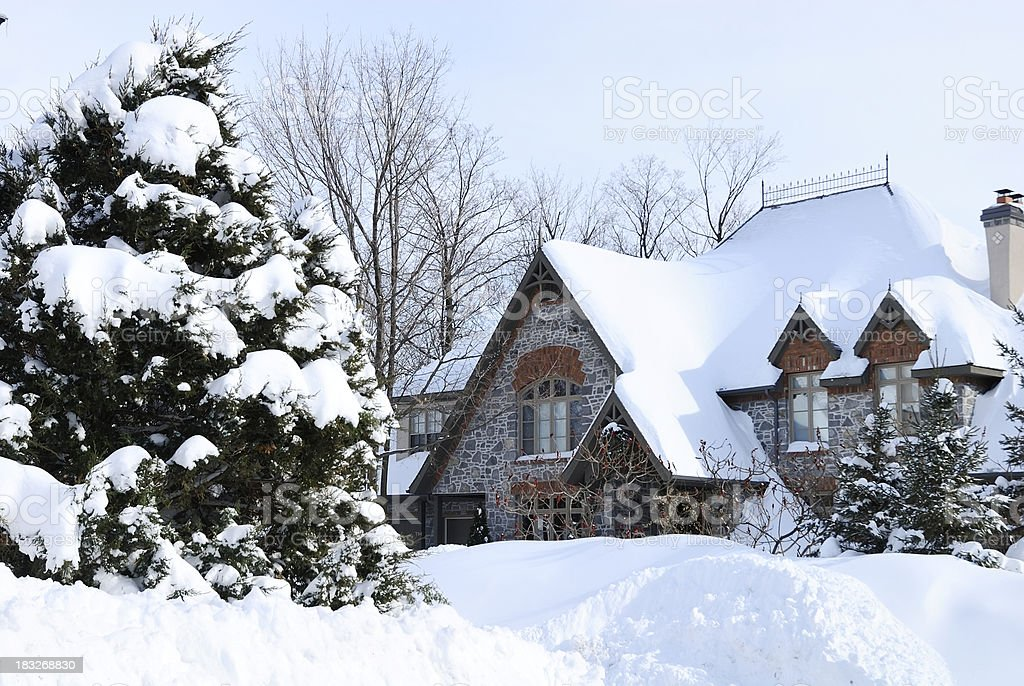 Winter house after snow storm royalty-free stock photo