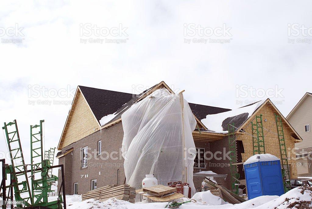 Winter House Construction royalty-free stock photo