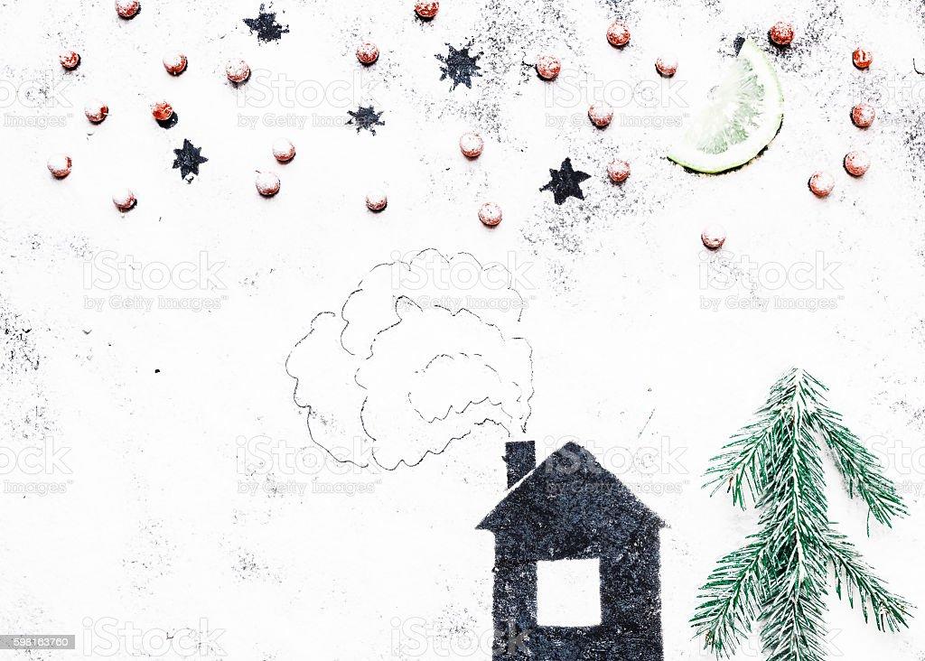 Winter house on the flour stock photo