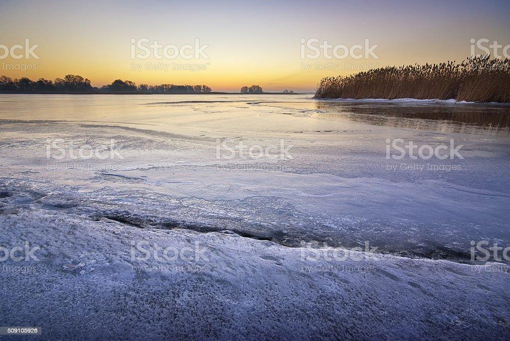Winter ice landscape. stock photo