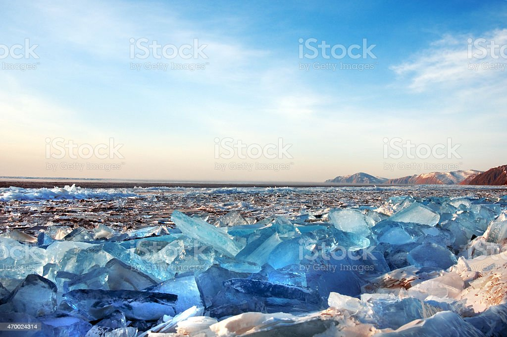 Winter. Ice on the surface of Lake Baikal. stock photo