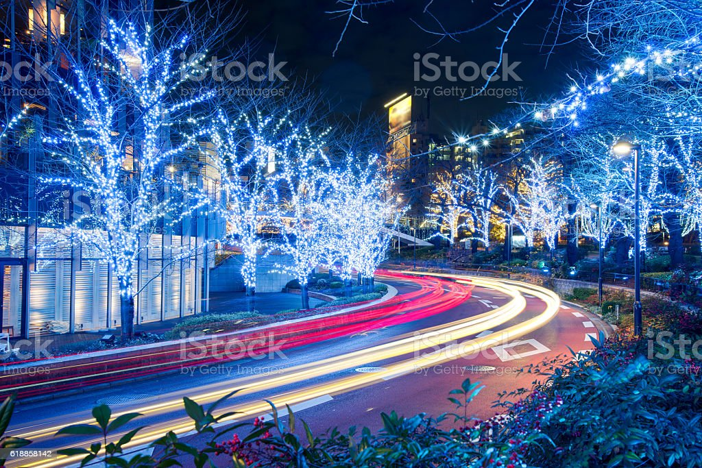Winter Illumination in Tokyo near Roppongi Hills stock photo
