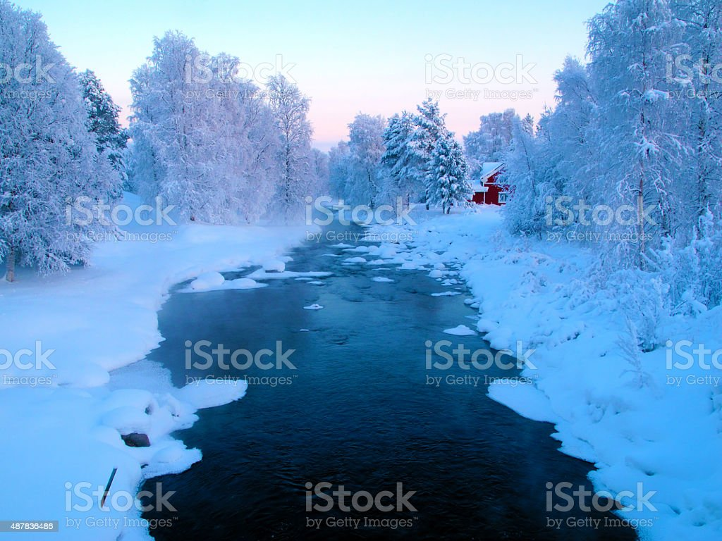 Winter image of white frost stock photo