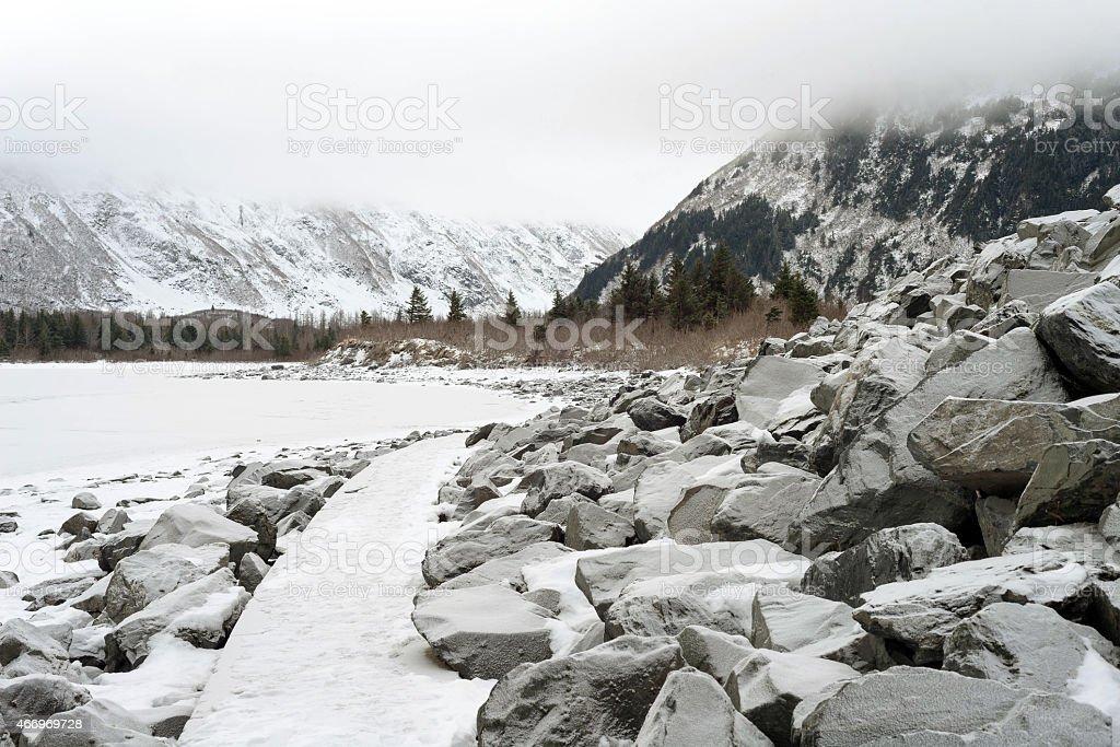 Winter in Alaska stock photo