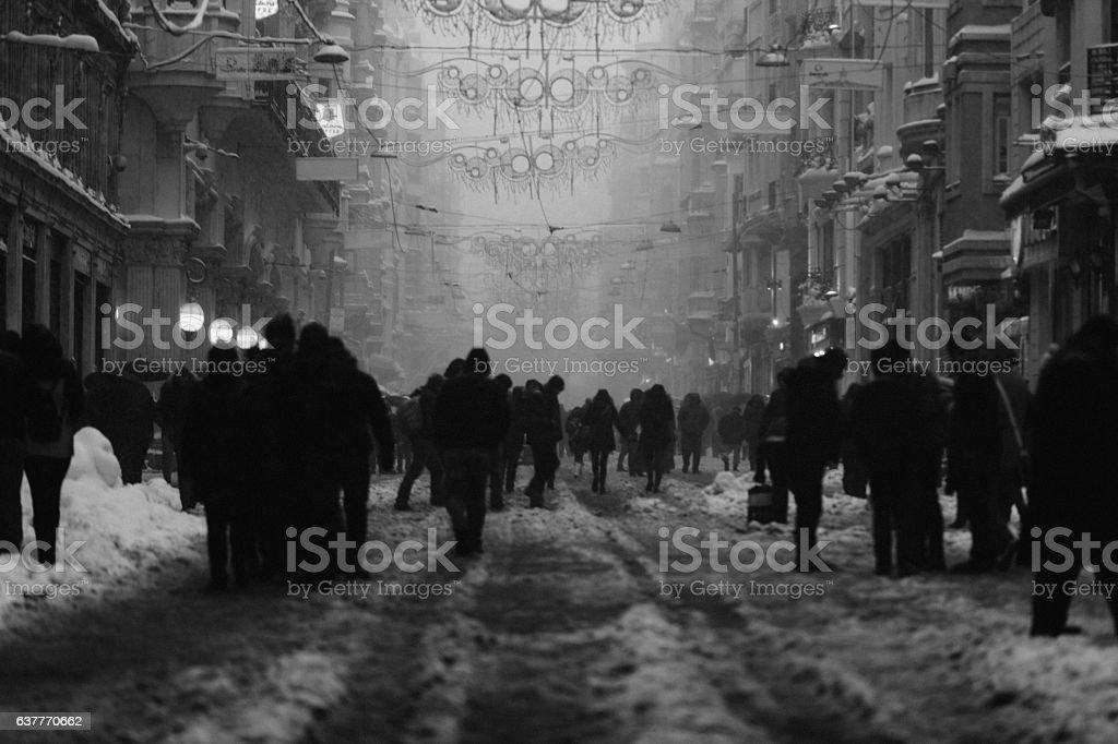 Winter in Beyoglu, Istanbul, Turkey - Monochrome stock photo
