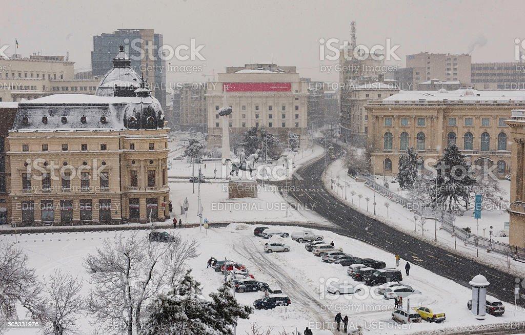Winter in Bucharest stock photo