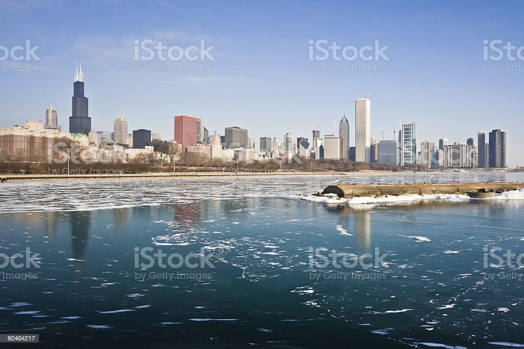 Winter in Chicago stock photo