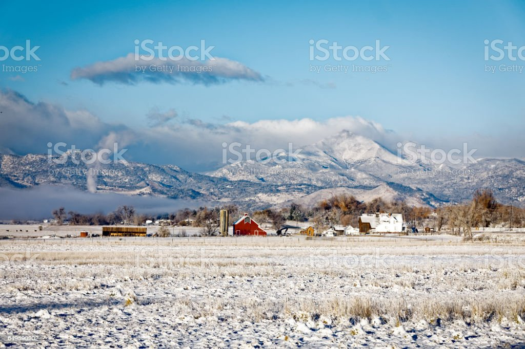 Winter in Colorado with Red Barn stock photo
