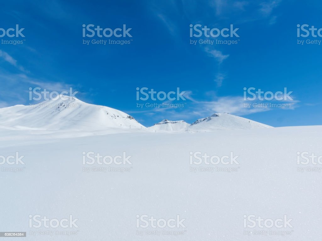 Winter in Greater Caucasus Mountains. Georgia (country). Gudauri ski resort. stock photo