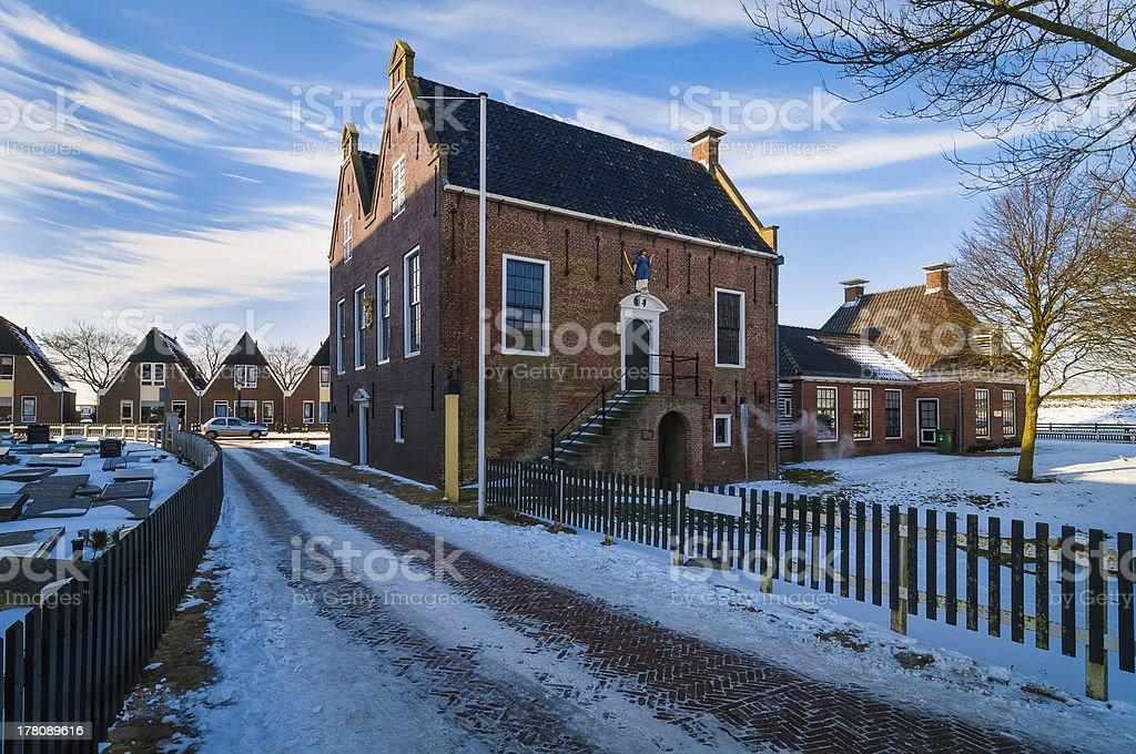 Winter in Hindeloopen Netherlands stock photo