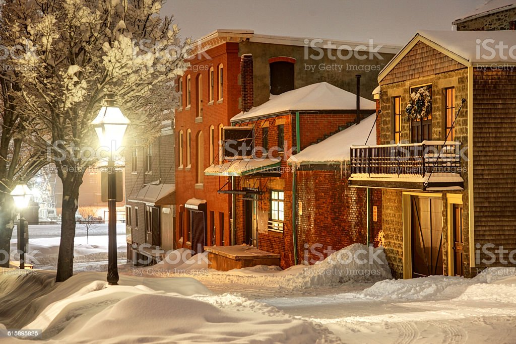 Winter in Historic Downtown New Bedford stock photo