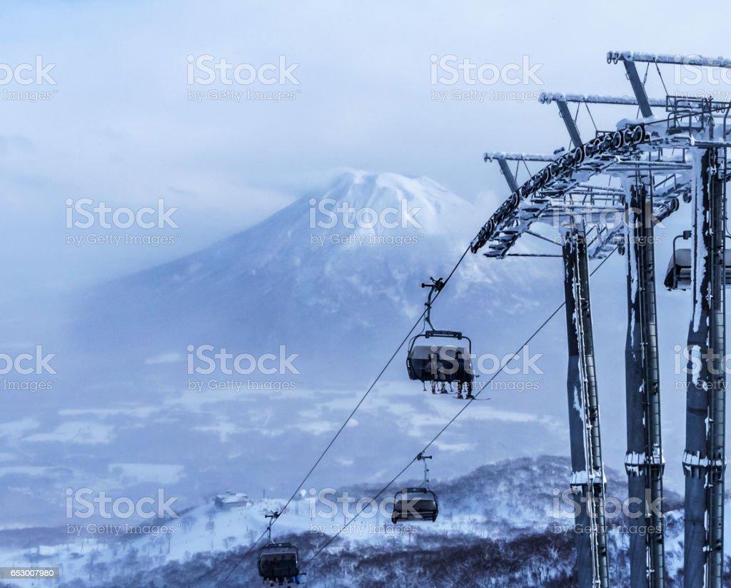Winter in Hokkaido stock photo
