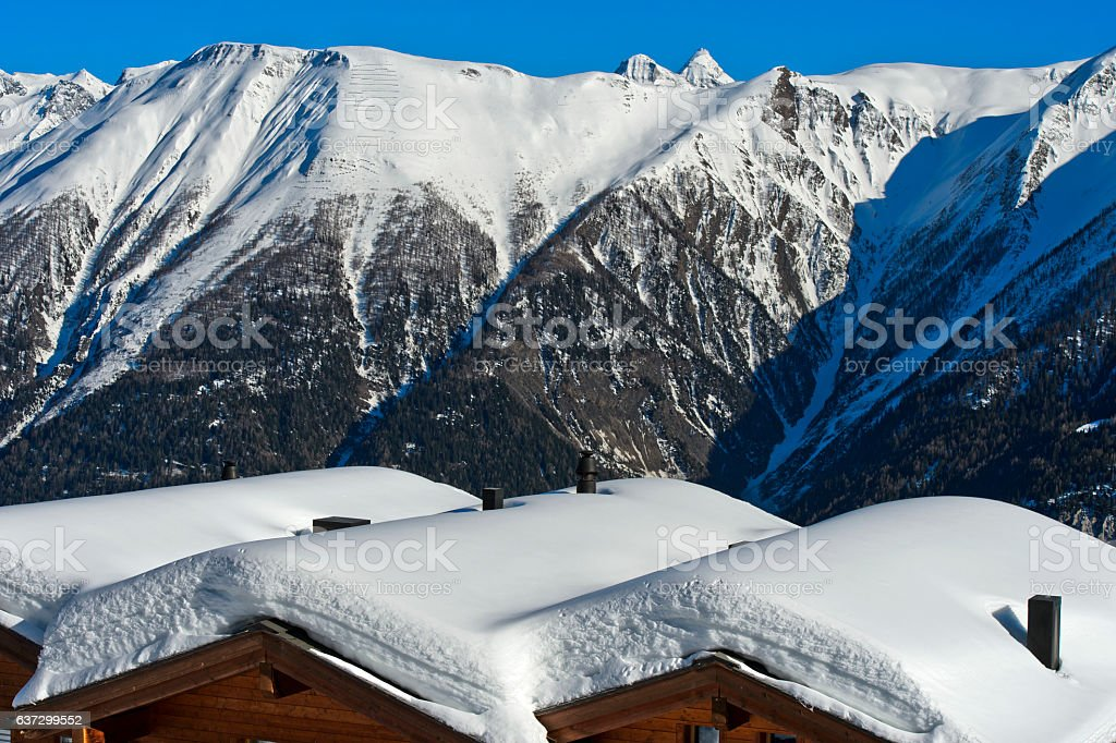 Winter in in the Swiss Alps stock photo