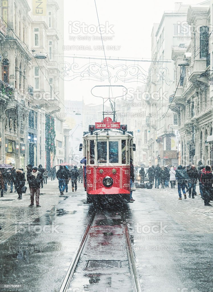 Winter in Istiklal Street, Beyoglu, Istanbul. stock photo