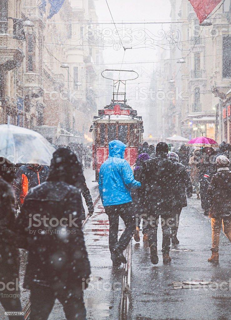 Winter in Istiklal Street, Beyoglu, Istanbul. stock photo