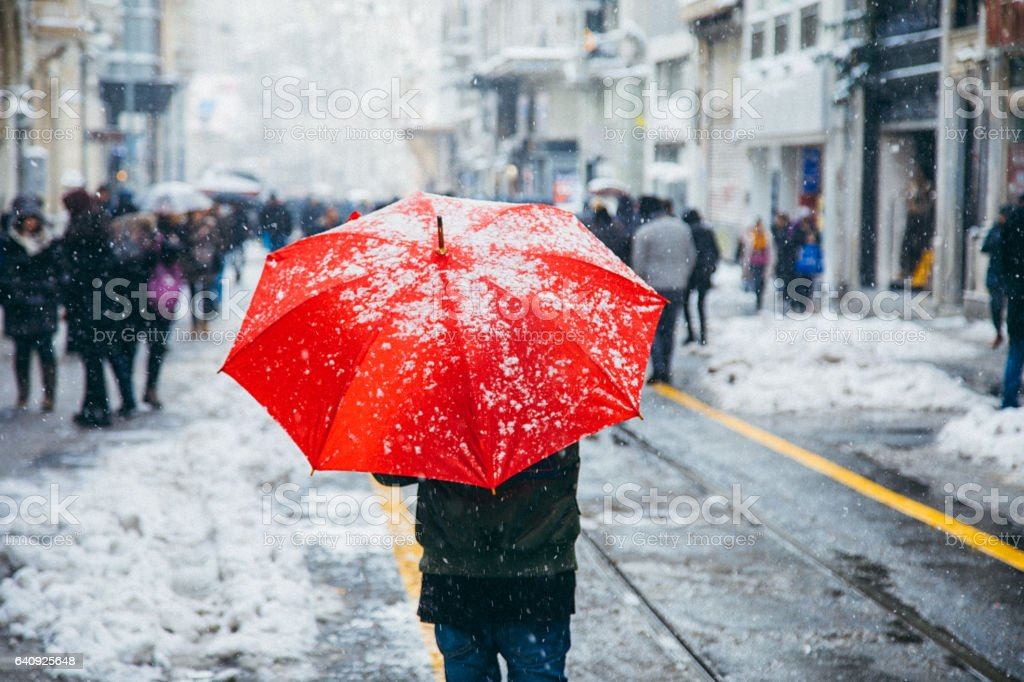 Winter in Istiklal Street, Beyoglu, Istanbul stock photo