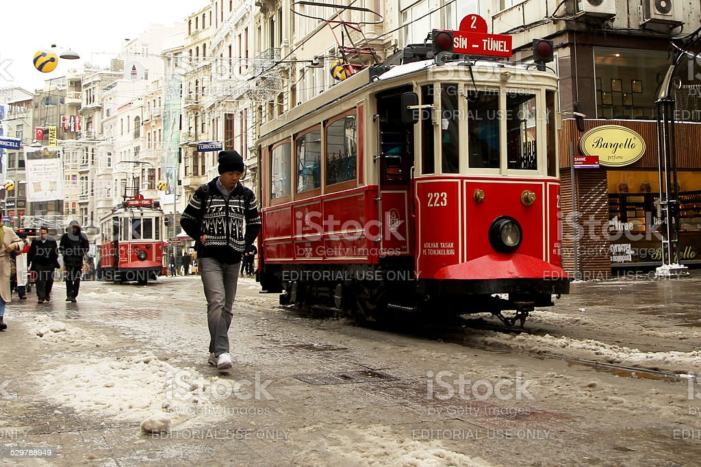 winter in istiklal street stock photo