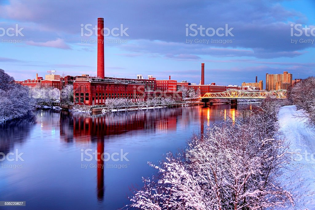Winter in Lowell Massachusetts stock photo