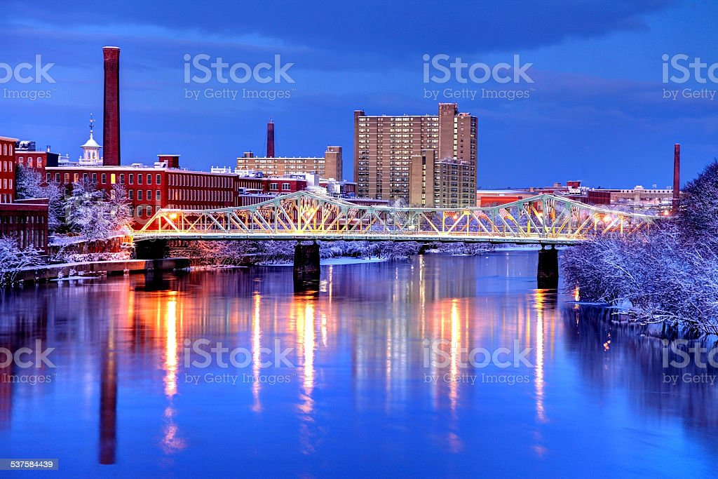 Winter in Lowell, Massachusetts stock photo