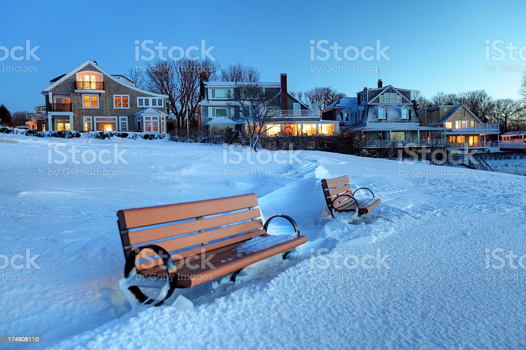 Winter in Marblehead stock photo