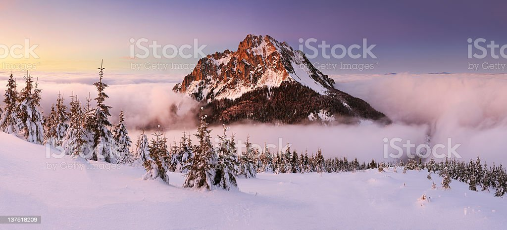 Winter in mountain with rocky peak royalty-free stock photo