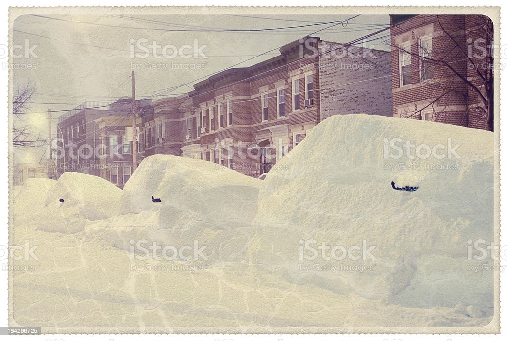 Winter in New York - Vintage Postcard royalty-free stock photo