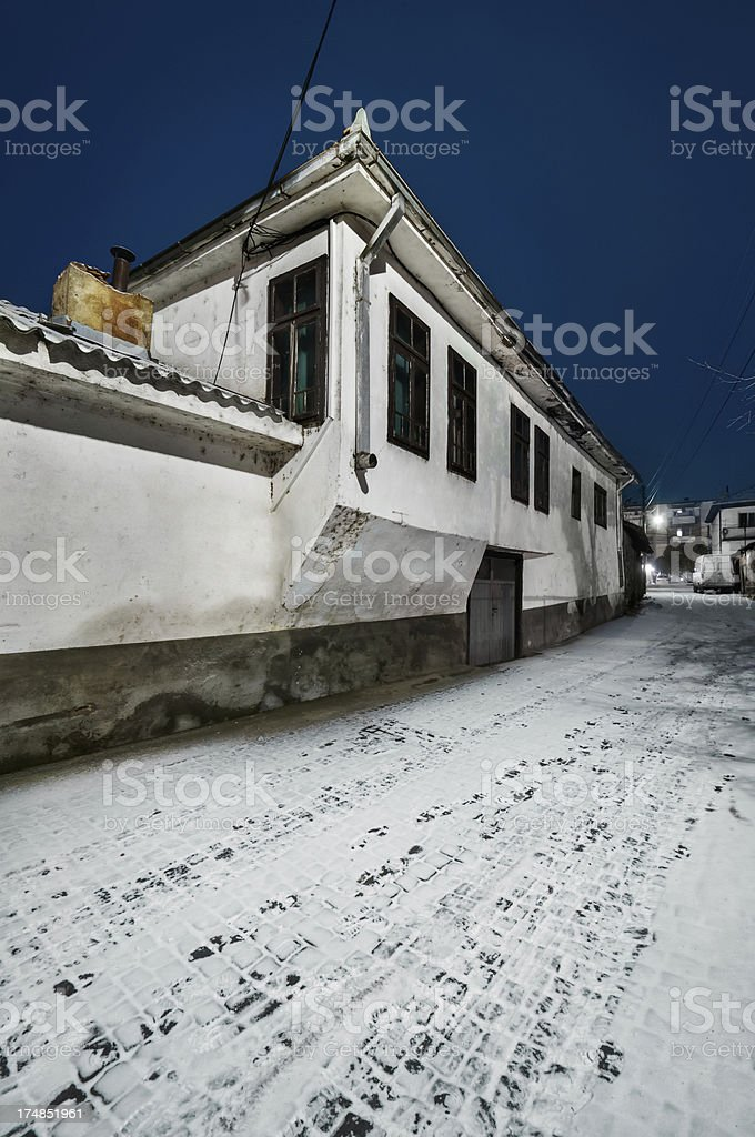 Winter in Old Part of Town royalty-free stock photo