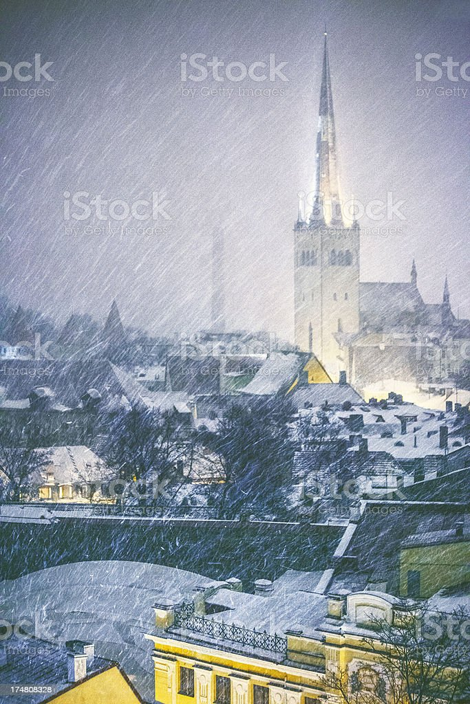 Winter in old town. royalty-free stock photo