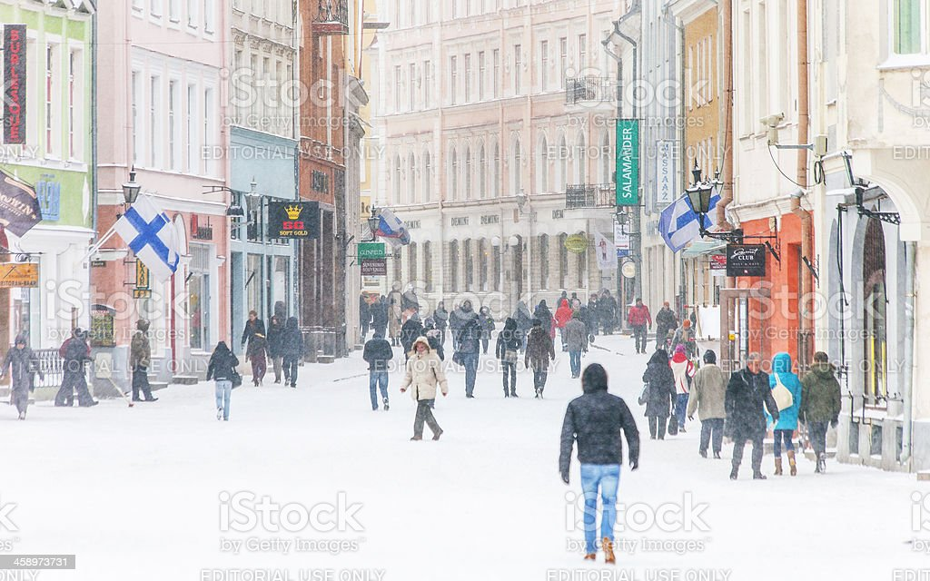 Winter in old town. stock photo